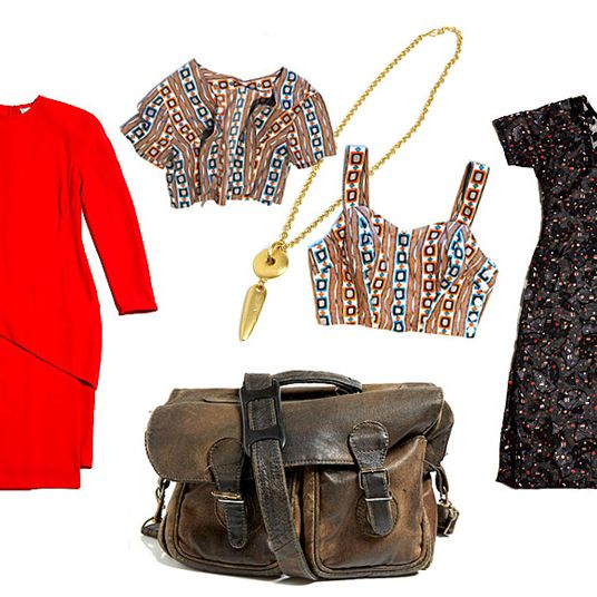 Clockwise from left: Gianni Versace Paneled Dress, Geometric Two-Piece Tank and Bolero Set, Avon Geo Pendant, Metallic Sheer Fan Dress, and Mini Distressed Brown Briefcase.