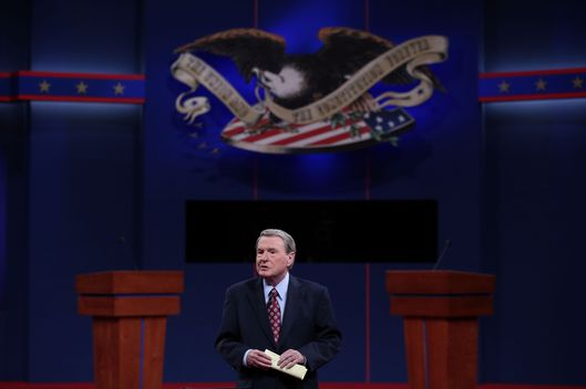DENVER, CO - OCTOBER 03:  Debate moderator Jim Lehrer speaks prior to the Presidential Debate at the University of Denver on October 3, 2012 in Denver, Colorado. The first of four debates for the 2012 Election, three Presidential and one Vice Presidential, is moderated by PBS's Jim Lehrer and focuses on domestic issues:  the economy, health care, and the role of government.  (Photo by Win McNamee/Getty Images)
