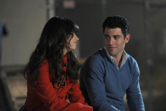 "NEW GIRL:  Jess (Zooey Deschanel, L) and Schmidt (Max Greenfield, R) recap his birthday celebration in ""The Story of the 50"" Winter premiere episode of NEW GIRL, airing Tuesday, Jan. 17 (9:00-9:30 PM ET/PT) on FOX.  ©2011 Fox Broadcasting Co.  Cr:  Ray Mickshaw/FOX"