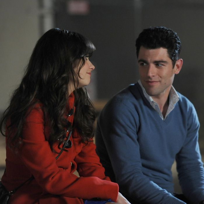 Jess (Zooey Deschanel, L) and Schmidt (Max Greenfield, R) recap his birthday celebration in