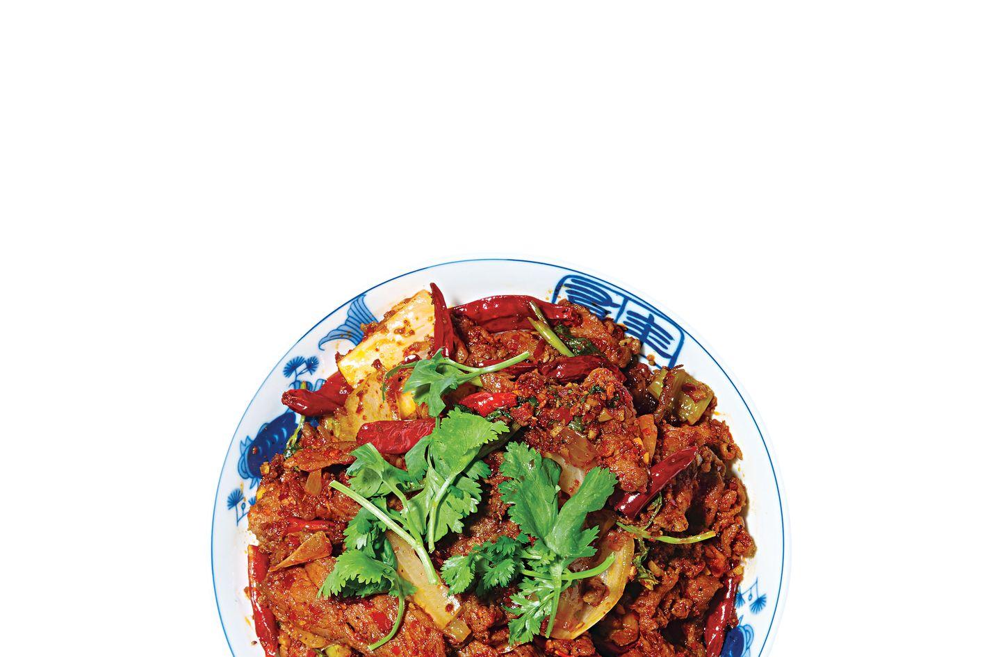 Café China's spicy cumin lamb.