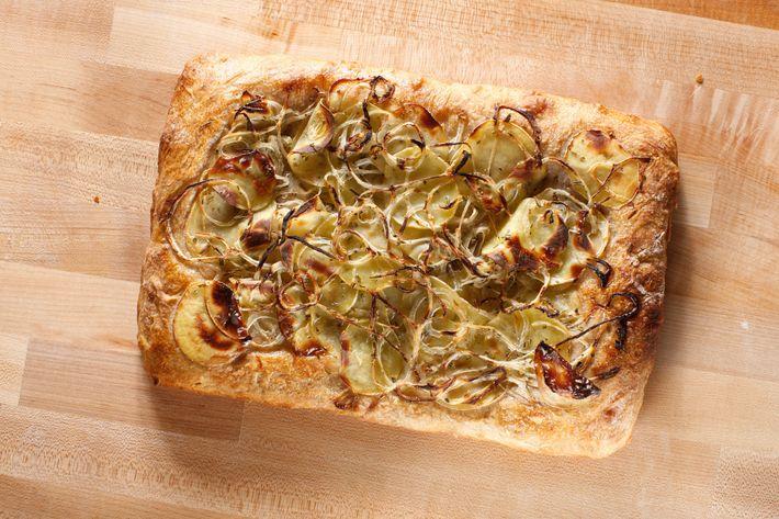 Potato-and-onion pizza al taglio.