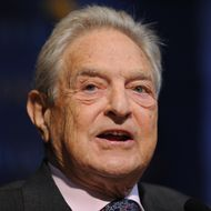 """George Soros, chairman, Soros Fund Management, speaks on  """"The Sovereign Debt Problem"""" during a Sovereign Wealth Fund Conference October 5, 2010 at Columbia University in New York.  AFP PHOTO/Stan HONDA (Photo credit should read STAN HONDA/AFP/Getty Images)"""