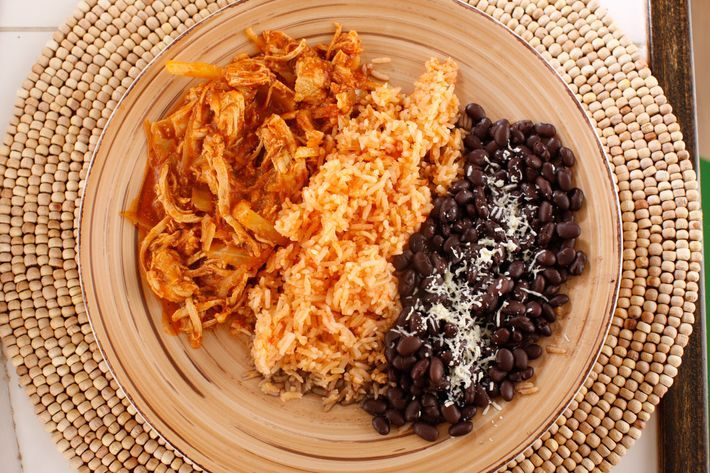 Tinga: shredded chicken in chipotle sauce.