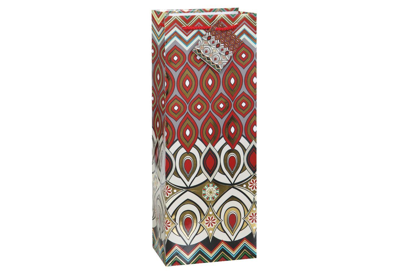 Ikat Holiday Wine Gift Bag, Crimson/Gold