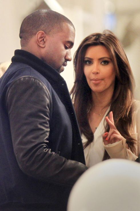 Kim Kardashian and Kanye West go shopping at Jeffrey's in NYC.