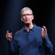 Apple CEO Tim Cook  speaks during Apple's special event at the California Theatre in San Jose on October 23, 2012 in California. Apple unveiled a smaller version of its hot-selling iPad on Tuesday, jumping into the market for smaller tablet computers dominated by Amazon, Google, and Samsung. The iPad mini's touchscreen measures 7.9 inches (20cm) diagonally compared to 9.7 inches(24.6cm) on the original iPad. AFP PHOTO/ Kimihiro Hoshino        (Photo credit should read KIMIHIRO HOSHINO/AFP/Getty Images)