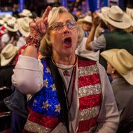 Delegate shouts facing the tribune were the TV station are based during the Republican National Convention, Wednesday, July 20, 2016. (Photo/Andres Kudacki)