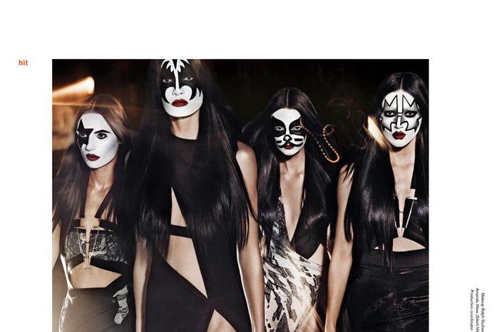 Kiss-themed editorial for the music issue of <em>V</em> Magazine.