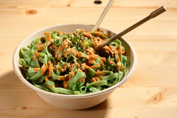 Hong Kong Street Cart's cold peanut spinach noodles.