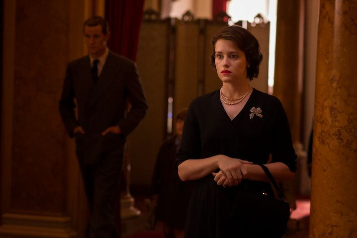 Matt Smith as Philip, Claire Foy as Elizabeth.