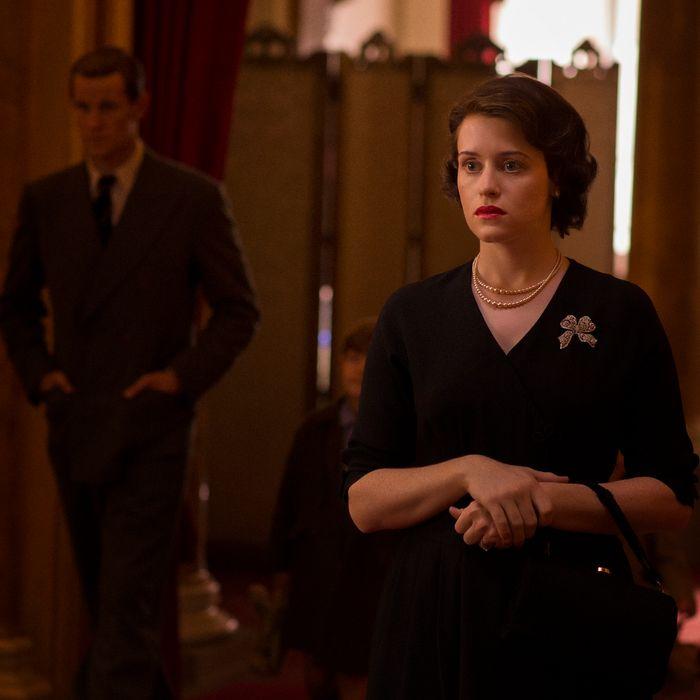 Matt Smith as Philip, Claire Foy as Elizabeth.