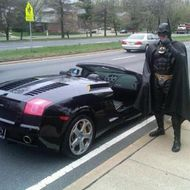 This was the bizarre sight as police pulled over 'Batman' for allegedly not having license tags on his 'Batmobile.' A man dressed in full Batman outfit was stopped driving a black Lamborghini by cops on Montgomery, Maryland, outside of Washington, DC. The man, identified as local personality Lenny B. Robinson, was reportedly heading to a local children's hospital to entertain sick kids while dressed as the Dark Knight. Mr Robinson did have the plates with him but police believe he did not want to ruin the affect of his Batmobile and decided to display a Batman symbol instead. He was allowed to go on his way with a warning. <P> Pictured: Police pull over 'Batman' <P> <B>Ref: SPL375984  270312  </B><BR/> Picture by: Montgomery County Police/Splash<BR/> </P><P> <B>Splash News and Pictures</B><BR/> Los Angeles:310-821-2666<BR/> New York:212-619-2666<BR/> London:870-934-2666<BR/> photodesk@splashnews.com<BR/> </P> <P><br> Splash News and Picture Agency does not claim any Copyright or License in the attached material. Any downloading fees charged by Splash are for Splash's services only, and do not, nor are they intended to, convey to the user any Copyright or License in the material. By publishing this material , the user expressly agrees to indemnify and to hold Splash harmless from any claims, demands, or causes of action arising out of or connected in any way with user's publication of the material. </P>
