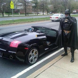 This was the bizarre sight as police pulled over 'Batman' for allegedly not having license tags on his 'Batmobile.'