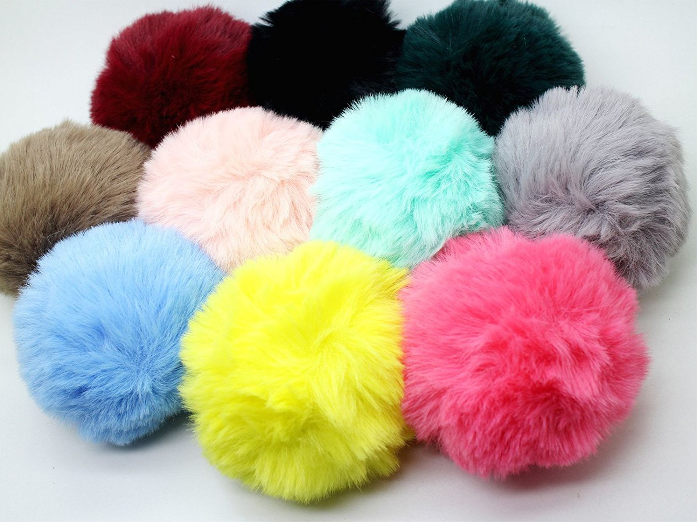 Soft Faux Rabbit Fur Pom Poms, Set of 10