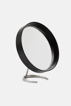 Tenfold New York Matte Black Round Mirror with Matte Nickel Stand