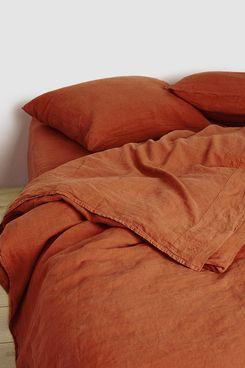 Hawkins New York Queen Size Simple Linen Duvet Cover in Rust
