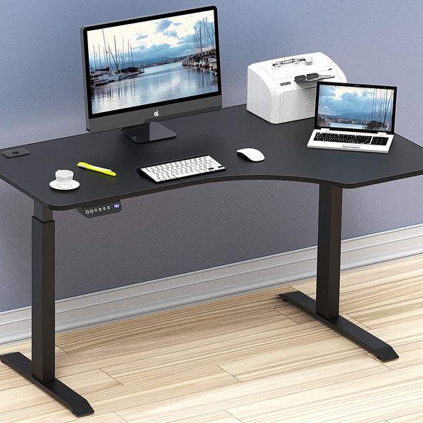 SHW Grand bureau en forme de L d'ordinateur à hauteur réglable électrique de 55 pouces
