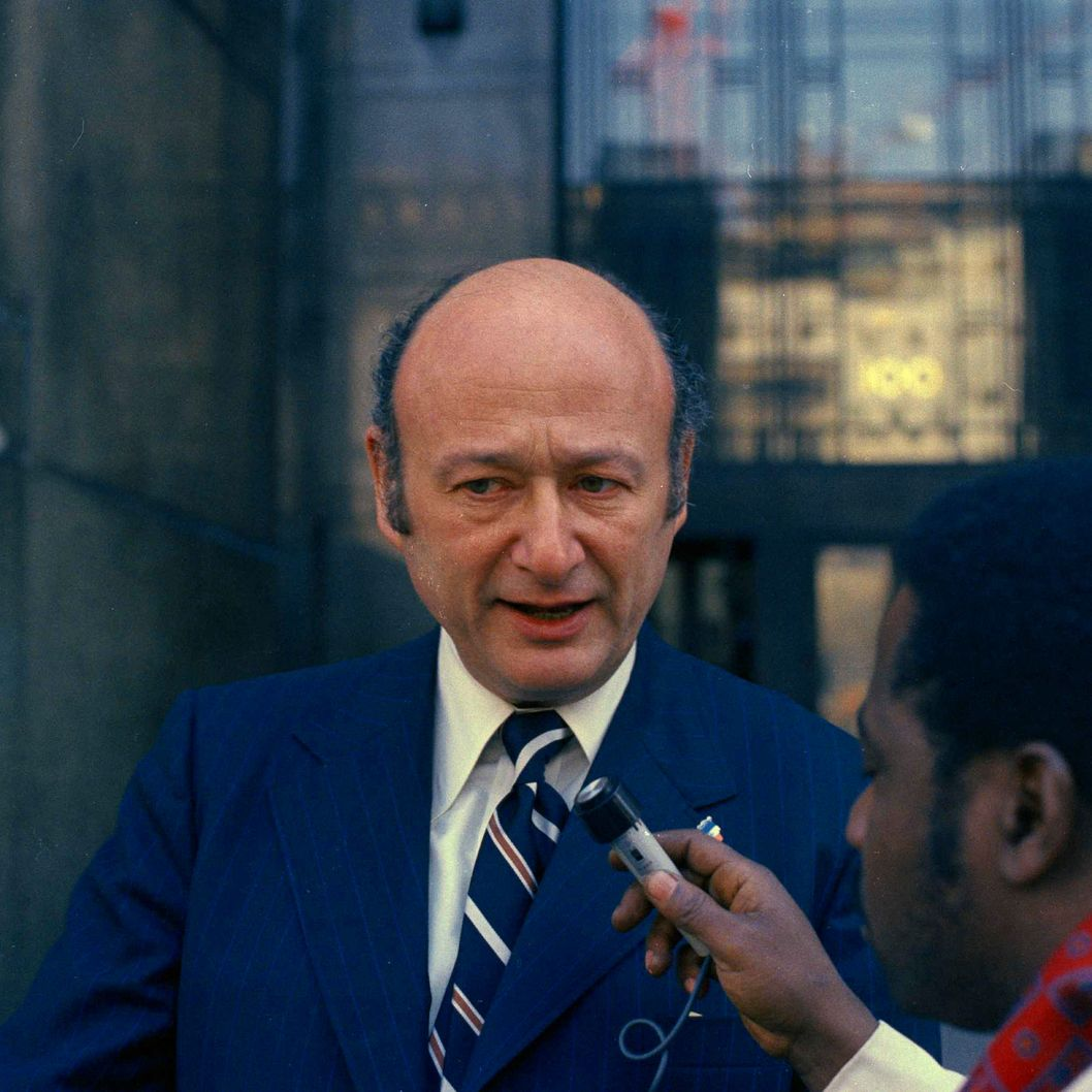 FILE - In this March 1, 1973, file photo, a man interviews New York mayoral candidate, Rep. Edward Koch, in New York. Koch, the combative politician who rescued the city from near-financial ruin during three City Hall terms, has died at age 88. Spokesman George Arzt says Koch died Friday morning Feb. 1, 2013 of congestive heart failure. (AP Photo/Anthony Camerano, File)