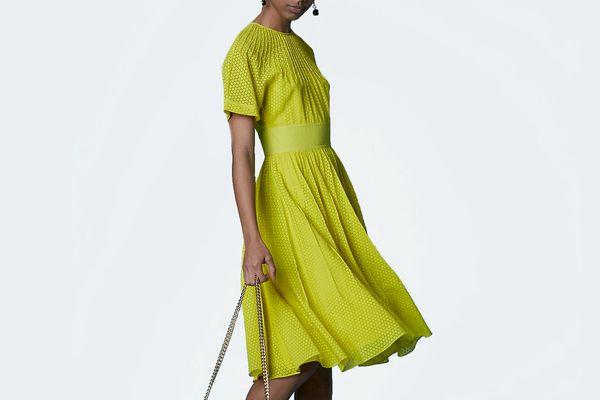Short-Sleeve Pintuck Dress