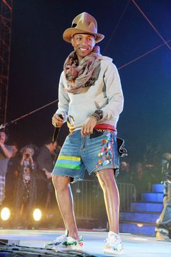 INDIO, CA - APRIL 12:  Singer Pharrell Williams performs onstage during day 2 of the 2014 Coachella Valley Music & Arts Festival at the Empire Polo Club on April 12, 2014 in Indio, California.  (Photo by Jeff Kravitz/FilmMagic)
