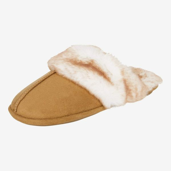 Ladies Womens Slip On Open Back Faux Fur Indoor Mule Slipper with Bow Design