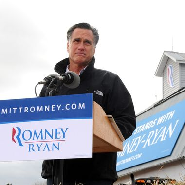 VAN METER, IOWA - OCTOBER 9:  U.S. Republican presidential candidate, former Massachusetts Gov. Mitt Romney speaks to supporters at a rally on a farm on October 9, 2012 near Van Meter, Iowa. Romney is campaigning in Iowa with four weeks to go before the general election.  (Photo by Steve Pope/Getty Images)