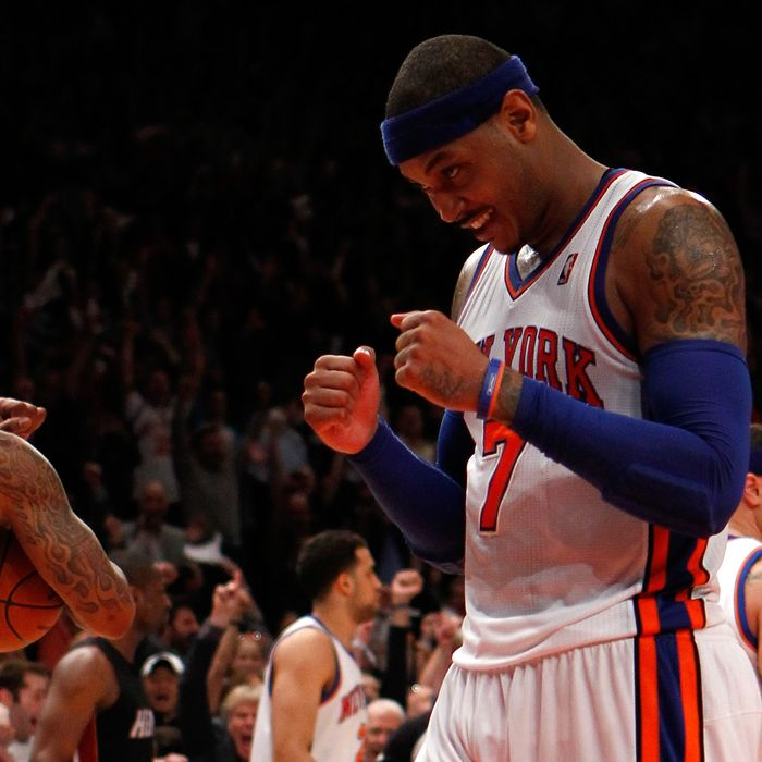Carmelo Anthony #7 of the New York Knicks reacts after the Knicks won 89-87 against the Miami Heat in Game Four of the Eastern Conference Quarterfinals in the 2012 NBA Playoffs on May 6, 2012 at Madison Square Garden in New York City.