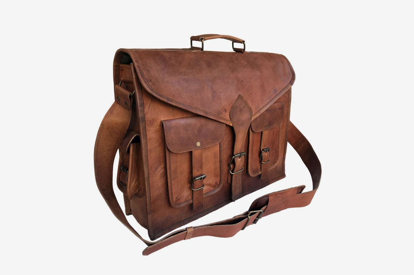 Komal's Passion Leather Rustic Vintage Leather Messenger Bag
