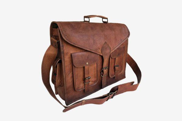 Komal's Passion Leather Rustic Vintage Leather Messenger Bag