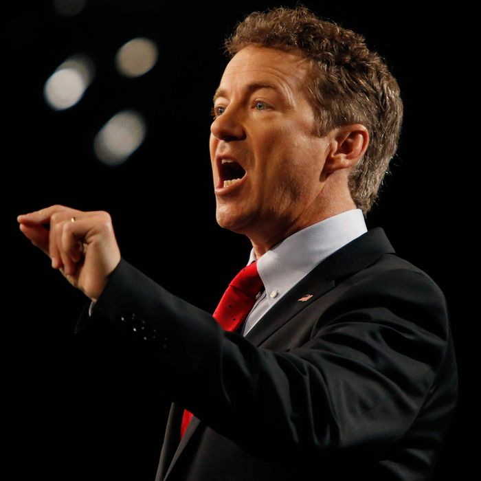 Sen. Rand Paul (R-KY) delivers remarks while announcing his candidacy for the Republican presidential nomination during an event at the Galt House Hotel on April 7, 2015 in Louisville, Kentucky.