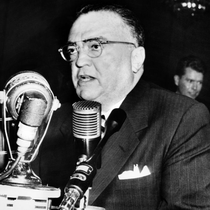 John Edgar Hoover, Director of the Federal Bureau of Investigation (FBI) of the United States, gives a speech during a testimony before the senate internal security committee, on November 17, 1953, in Washington.