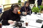 "UNITED STATES - JANUARY 26:  Sports radio hosts Mike Francesa (left) and Chris (Mad Dog) Russo broadcast their show from the Hyatt Hotel in Tampa.The New York Giants and Baltimore Ravens will face off in Super Bowl XXXV on Sunday., ""Mike and the Mad Dog""  (Photo by Howard Earl Simmons/NY Daily News Archive via Getty Images)"