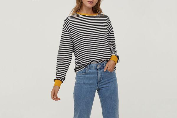 H&M Striped Jersey Top Black/White Striped