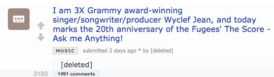 Wyclef Jean Deleted His Reddit Account After an AMA Disaster
