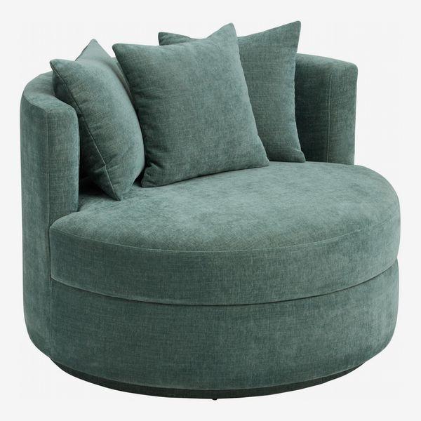 Oversized Teal Crushed Velvet Rico Upholstered Swivel Chair