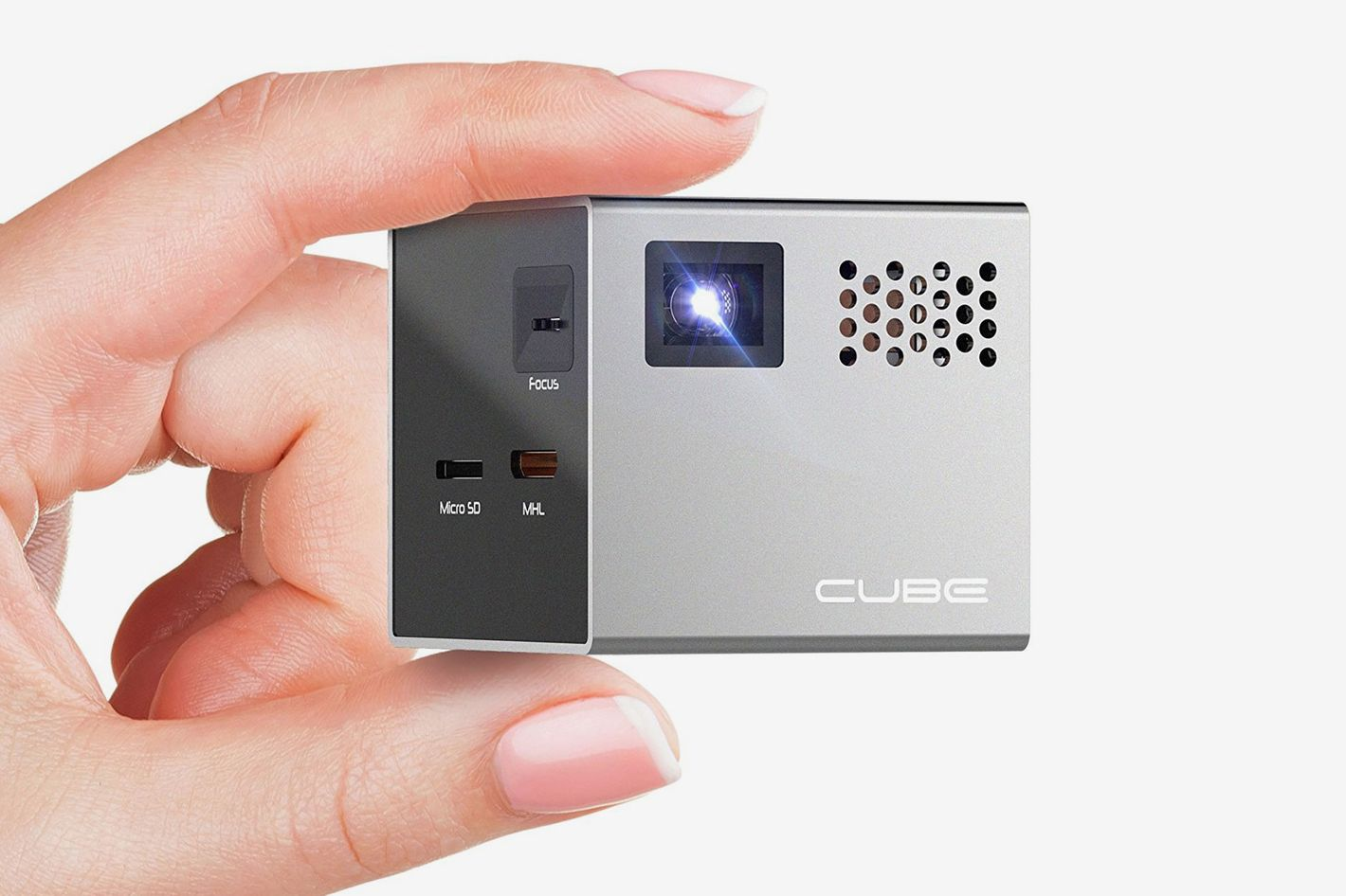 RIF6 CUBE Mobile Pico Projector — Portable Mini 2 inch Video Projector With Built In Speakers