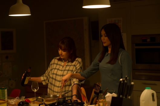 Katherine Parkinson as Laura Hawkins and Gemma Chan as Anita - Humans _ Season 1, Episode 1 - Photo Credit: Des Willie/Kudos/AMC/C4