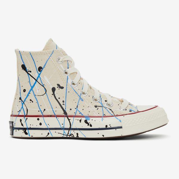 Converse Women's Beige Archive Paint-Splatter Chuck 70 High Sneakers