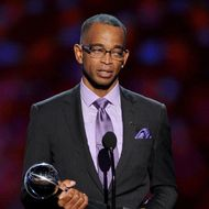LOS ANGELES, CA - JULY 16:  TV personality Stuart Scott accepts the 2014 Jimmy V Perseverance Award onstage during the 2014 ESPYS at Nokia Theatre L.A. Live on July 16, 2014 in Los Angeles, California.  (Photo by Kevin Winter/Getty Images)
