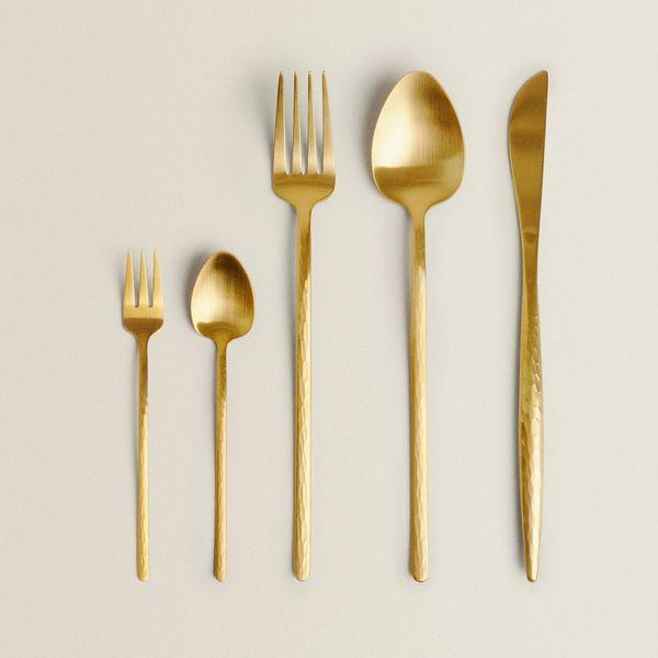 Hammered-Gold Flatware