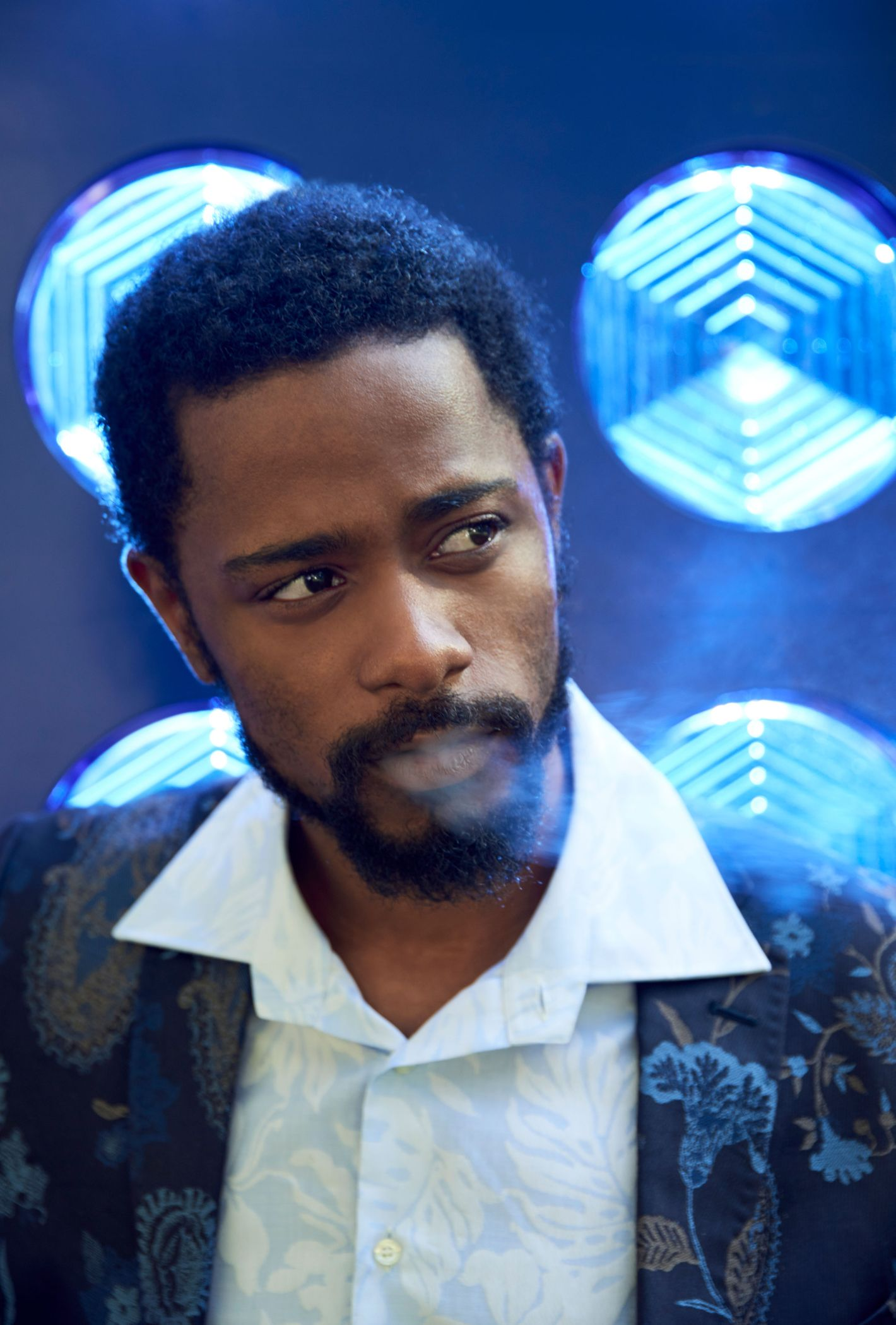 Keith Stanfield smoking a cigarette (or weed)