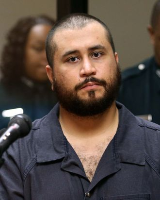 SANFORD, FL - NOVEMBER 19: George Zimmerman, the acquitted shooter in the death of Trayvon Martin, faces a Seminole circuit judge during a first-appearance hearing on charges including aggravated assault stemming from a fight with his girlfriend November 19, 2013 in Sanford, Florida. Zimmerman, 30, was arrested after police responded to a domestic disturbance call at a house. He was acquitted in July of all charges in the shooting death of unarmed, black teenager, Trayvon Martin. (Photo by Joe Burbank-Pool/Getty Images)
