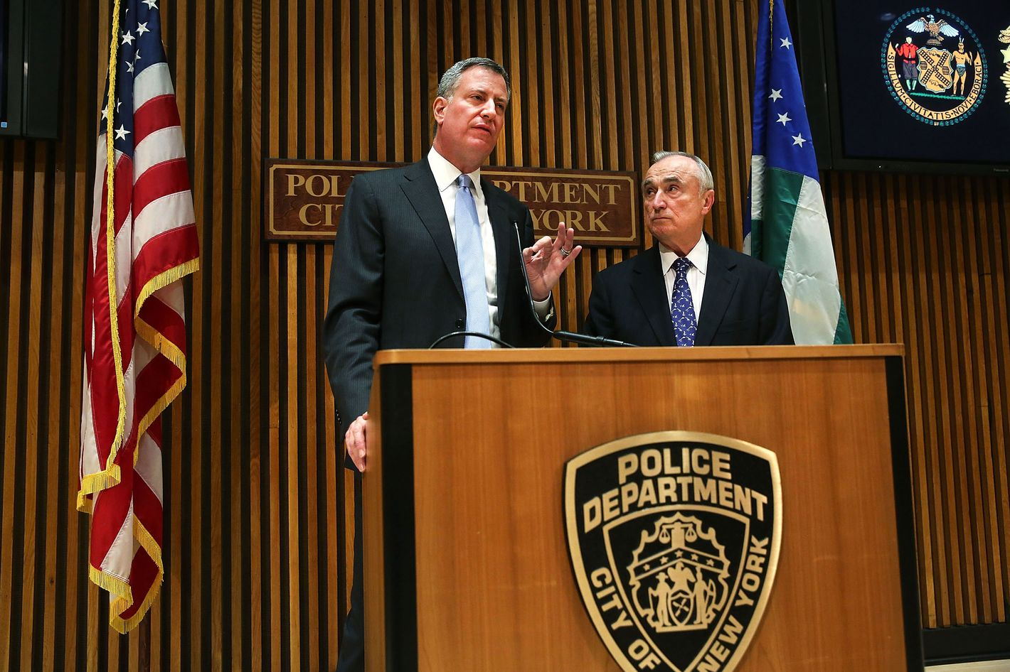 New York City Mayor Bill de Blasio (left) speaks at his first news conference with police commissioner William Bratton at One Police Plaza on January 2, 2014 in New York City. New York City, and much of New England is preparing for a major winter snowstorm.