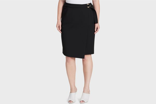 Calvin Klein Plus Size Faux-Wrap Pencil Skirt