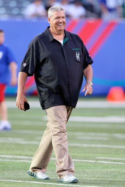 Head coach Rex Ryan of the New York Jets before the  pre season game against the Giants on August 29, 2011.