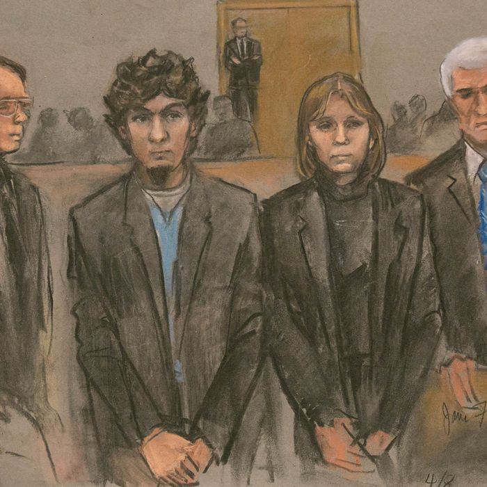 An artist sketch of Dzhokhar Tsarnaev (2L) and his defense team as the guilty verdicts on all charges were read in the John J Moakley Federal Courthouse against Tsamaev in the Boston Marathon bombing trial in Boston, Massachusetts, USA, 08 April 2015. Dzhokhar Tsarnaev along with his brother Tamerlan Tsarnaev set off home made bombs at the Boston Marathon on 15 April 2013 killing three people and injuring hundreds. EPA/JANE FLAVELL COLLINS --- Image by ? JANE FLAVELL COLLINS/epa/Corbis