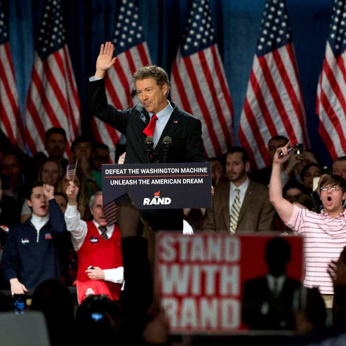 Sen. Rand Paul, R-Ky., announces the start of his presidential campaign as the audience cheers, Tuesday, April 7, 2015, at the Galt House Hotel in Louisville, Ky. Paul launched his 2016 presidential campaign Tuesday with a combative message against both Washington and his fellow Republicans, declaring that