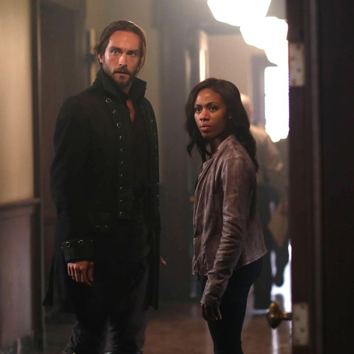 SLEEPY HOLLOW: Ichabod (Tom Mison, L) and Abbie (Nicole Beharie, R) see an unexpected person in the