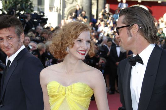"US actor Brad Pitt (R), US actress Jessica Chastain and US actor Sean Penn pose on the red carpet before the screening of ""The Tree of Life"" presented in competition at the 64th Cannes Film Festival on May 16, 2011 in Cannes.      AFP PHOTO / FRANCOIS GUILLOT (Photo credit should read FRANCOIS GUILLOT/AFP/Getty Images)"